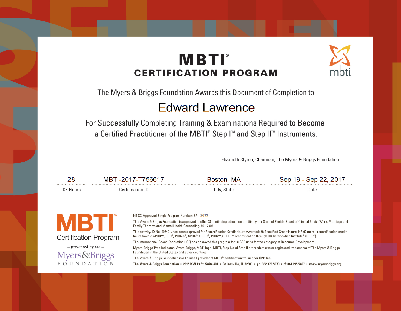 Myers Briggs certification